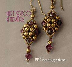 Beaded Earrings Tutorial  Beading Pattern  by MilleGioiediSidonia, €4.20