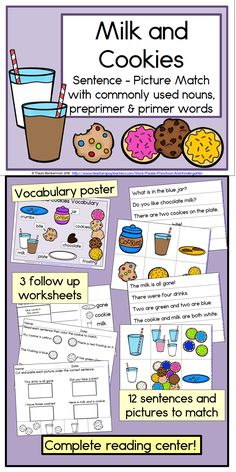 A complete literacy center, easy to prepare, Milk and Cookies Sentence Picture Match will engage your students in reading sight word sentences. There are twelve sentences and colorful matching pictures, focusing on commonly used nouns, preprimer and primer words . A breakdown of the words used, by grade level, is included in the directions. There are also a vocabulary poster, 3 follow up worksheets, and an answer key.  TpT $