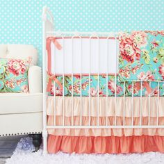 Coral and aqua color scheme for the nursery