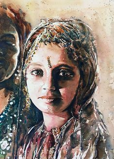 Chica hindú Acuarela Watercolor 39 x 54 cms.  Etiquetas: india, watercolor, acuarela, adanjcespedes, hindu, asian www.adanjcespedes.com