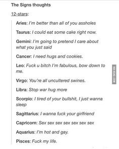I'm Libra and Virgo and I think both all the time despite hoe different they are. Whoever wrote that last caption, how tf do are you a libra and virgo the fuck? Zodiac Signs Sagittarius, Zodiac Sign Traits, Zodiac Star Signs, Zodiac Horoscope, Horoscope Signs, My Zodiac Sign, Scorpio And Capricorn, Zodiac Funny, Zodiac Memes