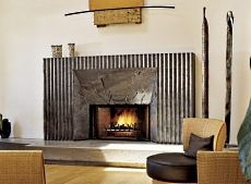 Floor to Ceiling Brushed Aluminum Custom Fireplace Surround The ...