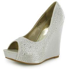 Ivory/White Satin Diamante Wedge Wedding Shoes