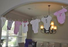 Baby Shower Ideas for Girls On a Budget | baby shower decorative clothesline