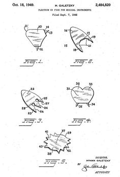 1949 - Plectrum Or Pick For Musical Instrument - H. Galetzky - Patent Art Poster