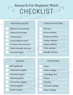 Beginner Witch Research Topics Checklist Wiccan Magic, Wiccan Witch, Wiccan Spells, Magick, Magic Spells, Wicca For Beginners, Witchcraft Spells For Beginners, Witch Spell Book, Witchcraft Spell Books