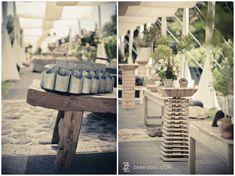 Rustic Pre-drinks setup at Molenvliet Wine Estate in Stellenbosch.  Decor done by Okasie.  See more of this wedding on our blog http://www.zara-zoo.com/blog/fresh-wedding-ideas-molenvliet/