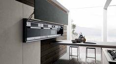 Inbouwinterieur in strakke design kast - Italiaans design van Modulnova - Twenty Cemento keuken