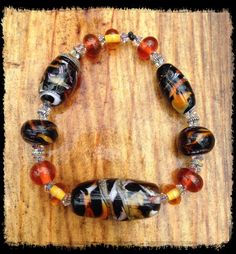 Tiger Bead Bracelet Handmade Glass Lampwork by NakedDogStudio, $130.00