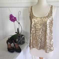 HOST PICKKirra Sequin Top Host Pick for 4-30-16 Weekend Wardrobe Party  Kirra cream with gold colored sequin top. I love the way this top catches the light! Worn once for a party. The sequins are in great condition. Size medium, but this can also fit a small as a relaxed fitting top. 100% polyester. Kirra Tops Tank Tops
