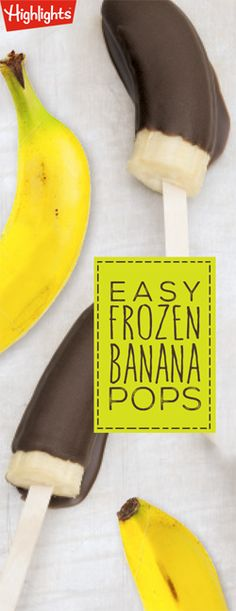 Easy Frozen Banana Pops - Here's a dessert recipe that kids can make themselves! It would also make a fun summer activity for kids and a cool treat on a hot summer's day.