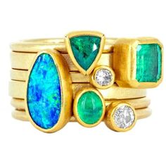 Petra Class Emerald Opal Diamond Gold Doublet Handmade Stacking Rings ($7,950) ❤ liked on Polyvore featuring jewelry, rings, green, green emerald ring, gold diamond rings, gold band ring, 18k gold ring and bezel set diamond ring