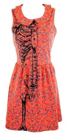 Iron Fist Wishbone Coral Red Skeleton Print Knee Length Dress: Amazon.co.uk: Clothing
