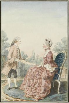 """""""Mme. de Larminat and Her Son"""" by Louis Caroggis Carmontelle (1760)"""