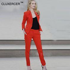 Women Suits With Pants Slim Work Wear Elegant Blazer Women Pant Jacket OL…