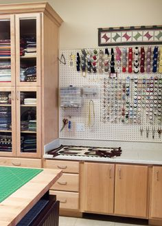 Get clever with wall storage. Go beyond shelving units, as other options may prove more practical for your needs. Hack suggests wire racks, magnetic systems for tools and a pegboard for sewing essentials.