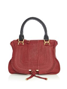 Chloe   Dark-red leather bag with two black leather woven top handles, gold metal hardware, and a zipped top closure with logo-embossed zippers