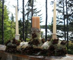 unity candle holder breathtaking forest design by upcountryangel, $65.00 Log Centerpieces, Table Decorations, Unity Candle Holder, Forest Design, Pillar Candles, Snowman, Wedding, Valentines Day Weddings, Mariage