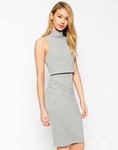 ASOS Pencil Dress with Shell Top in Rib