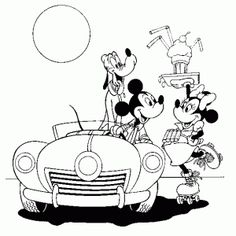 Mickey Buys Drive Thru Disney Coloring Pages