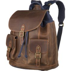 Pendleton Leather Rucksack (500 CAD) ❤ liked on Polyvore featuring bags, backpacks, accessories, purses, bolsas, brown backpack, genuine leather bags, brown bag, leather rucksack and backpack bags