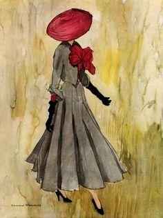 Christian Dior design illustrated by Bernard Blossac