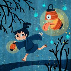 Lantern Ghost square youkai art print by theGorgonist on Etsy Japanese Folklore, Japanese Art, Character Art, Character Design, Different Art Styles, Mythical Creatures, Anime, Animation, Art Prints