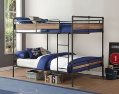 Industrial Metal Queen over Queen Bunk Bed. These queen size bunk beds will separate & features metal piping framework in a Sandy Black with Bronze finish. Furniture, Bedroom Furnishings, Bunk Beds With Stairs, Loft Bed, Metal Bunk Beds, Bed, Loft Spaces, Space Bedding, Acme Furniture
