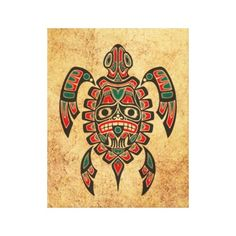 Vintage Red & Green Haida Spirit Sea Turtle Stretched Canvas Print - his unique design features a Haida inspired sea turtle. The Native pattern depicts a tribal sea turtle design that is comprised of flowing lines and elegant shapes. A traditional Native mask appears on the turtle's shell with clawed hands just under the tooth filled mouth. Rough textures and large cracks gives the pattern and aged and worn look. This beautiful pattern is a stylish representation of this wonderful sea…