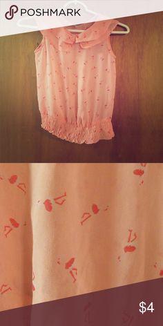 Japna kids shear shirt Peach in color. Shear shirt would be cute with a little cami underneath. Has flamingos on the shirt Japna kids Shirts & Tops Blouses