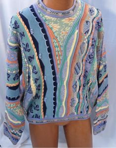 Tundra Canada Blue Green Rust Long Sleeve Cotton Sweater  - Large * #Tundra #Crewneck