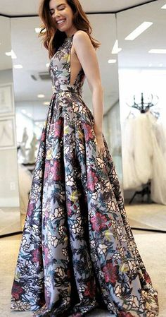 A-Line Prom Dresses,V-Neck Prom Gown,Multi Color Prom Dresses, Printed Prom Gown,Backless Prom Dress #printed #aline #vneck #backless #okdresses