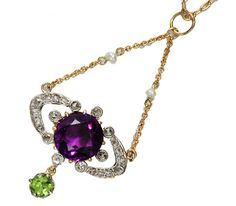 "Edwardian Diamond Amethyst Suffragette Pendant - the so-called suffragette colors of green, white and purple (not violet) do not in actuality represent, ""G-ive W-omen the V-ote. Rather it was the symbolism, of purple for dignity, white for purity and green for hope which truly represented the movement. The colors have been regarded as synonymous with the movements in both Europe and the United States"
