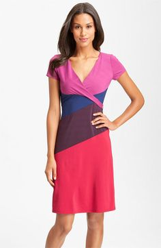 BCBGMAXAZRIA Surplice Colorblock Jersey Dress available at #Nordstrom.      Love the color block and wrap style all in one!  Looks like a great spring dress.