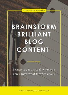 Brainstorm Brilliant Blog Content