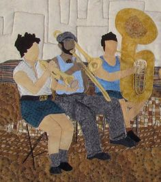 Blues Band Contemporary Art Quilt by LauraGlassArtQuilts on Etsy