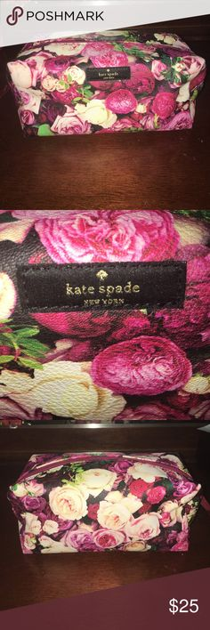 "KATE SPADE ♠️ MAKEUP POUCH Super cute. Mixed floral design Kate Spade makeup pouch. Inside has side pocket. Gently used. Size 8""x4"" kate spade Bags Cosmetic Bags & Cases"