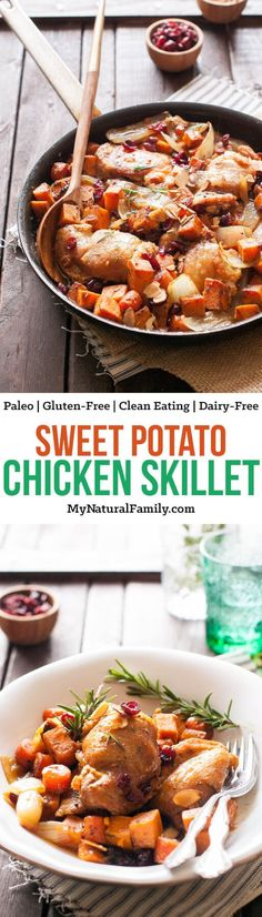This sweet potato chicken skillet recipe cooks up quickly in one pan. I love how fast it comes together and how easy it cleans up.