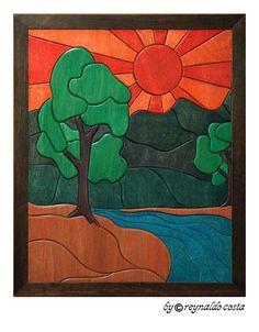 PÔR DO SOL -  Quadro em madeira de 3 e 6mm de espessura, alto relevo - Estilo Intarsia (Marchetaria) - Medida 50cm x 60cm