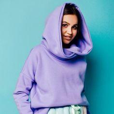 Anoi - Big hoodie lilia/ white 1