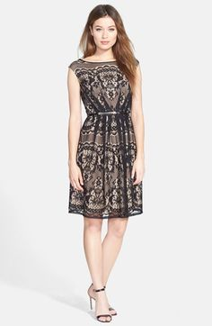 Adrianna Papell Belted Lace Fit & Flare Dress (Regular & Petite) available at #Nordstrom