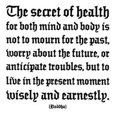 """The secret of health for both mind and body, is not to mourn for the past, worry about the future, or anticipate troubles, but to live in the present moment wisely and earnestly.""~Buddha"