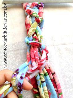 Passo a passo de colar de tecido de malha | Como Criar Bijuterias – Montagem de Bijuterias: Como Fazer e Vender, Passo-a-Passo, Idéias e Muito mais.