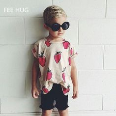 2016 Summer Kids Bobo Choses Short Sleeve T-shirt Boys Girls Cute Strawberry Printed Tops Baby Clothes #Affiliate