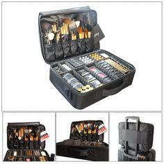 Professional Travel Large Capacity Makeup Storage Bag Cosmetic Case Suitcase New #Unbranded