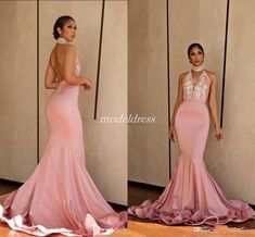 2019 Blush Backless Mermaid Prom Dresses Halter Sweep Train Deep V Neck  Appliques Beads Long Formal · Evening Gowns OnlineEvening Party ... a2e8162f7f7d