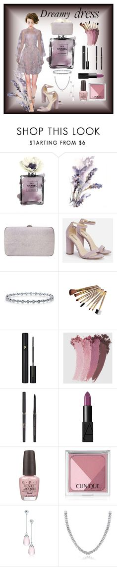 """""""Dreamy dress"""" by colonae ❤ liked on Polyvore featuring Sergio Rossi, JustFab, BERRICLE, Lancôme, Gucci, Yves Saint Laurent, OPI, Clinique, Paloma Picasso and Icz Stonez"""