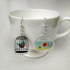 Cage and Bowl clear acrylic charm earrings by theGorgonist on Etsy