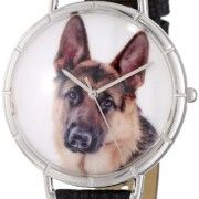 Whimsical-Watches-Womens-T0130040-German-Shepherd-Black-Leather-And-Silvertone-Photo-Watch-0