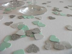 Mint grey silver glitter heart confetti  hand by LondonSparkle